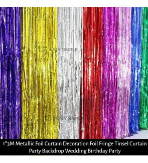 [Ready Stock] (1 Pack) 1m(W)*3m(L) Metallic Foil Fringe Rain Curtain Backdrop Tinsel DIY For Photo Booth Wedding Birthday Party