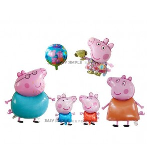 [Ready Stock] (1 Piece) Large 18 Inch Mini Small Size Peppa Pig George Family Theme Foil Balloon Party Decoration