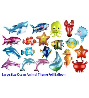 [Ready Stock] (1 Piece) Large Size Ocean Sea Animal StarFish Dolphin Nemo Shark Whale Theme Foil Balloon