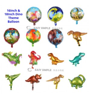 [Ready Stock] 1 Piece 16Inch OR 18Inch Dinosaurs Theme Boy Birthday Foil Balloon Wall Decoration