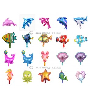 [Ready Stock] (1 Piece) Small 16 Inch Mini Ocean Sea Animal Theme Foil Balloon Shark