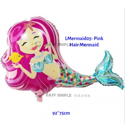 [Ready Stock] (1 Piece) Large 18 Inch Round Mini 16 Inch Size Girl Mermaid Ocean Tail Theme Foil Balloon