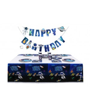 [Ready Stock] Blue Space Astronaut Boy Banner Tableware Party Set Disposable Paper Plate Cup Table Cover