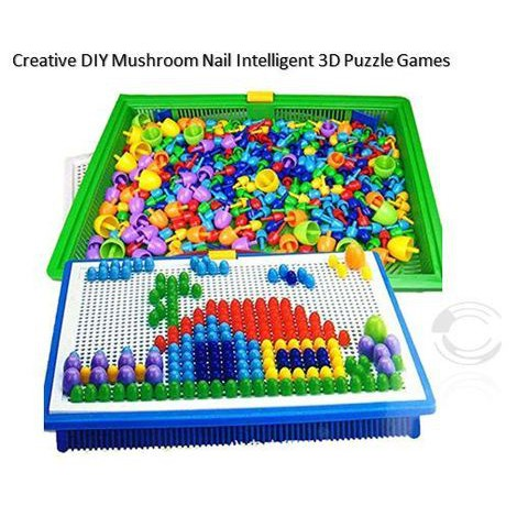 [Ready Stock] Creative DIY Mushroom Nail Intelligent 3D Puzzle Games Pegboard
