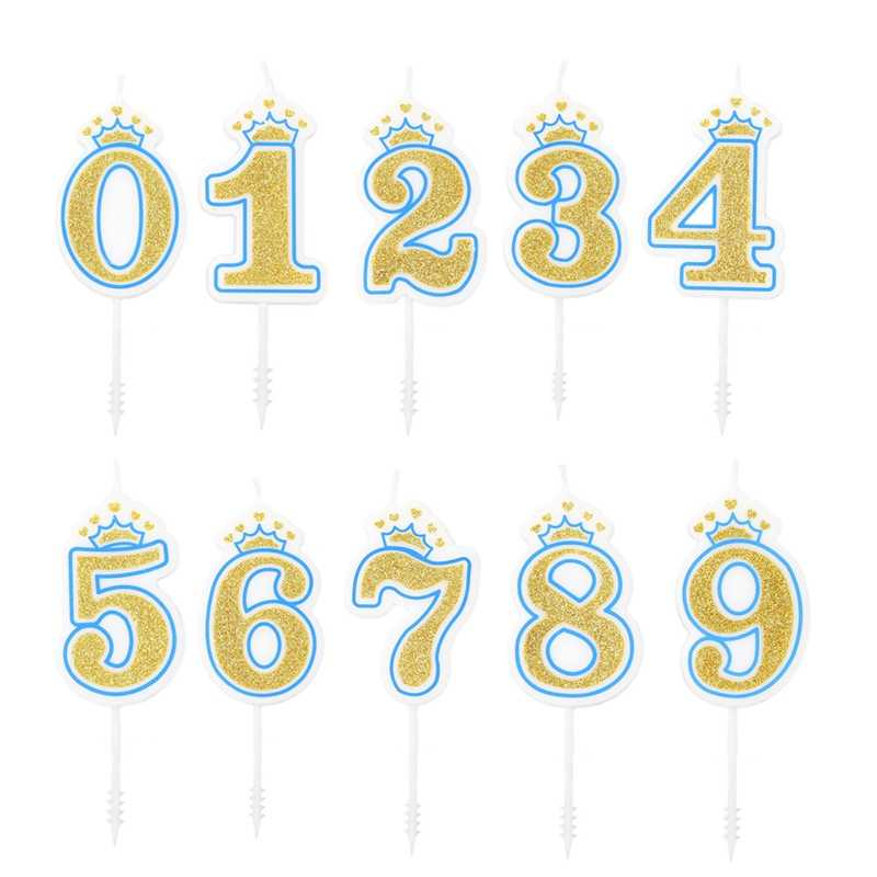 [Ready Stock] 0-9 Molded Glitter Number Candles Birthday Party Adults and Kids