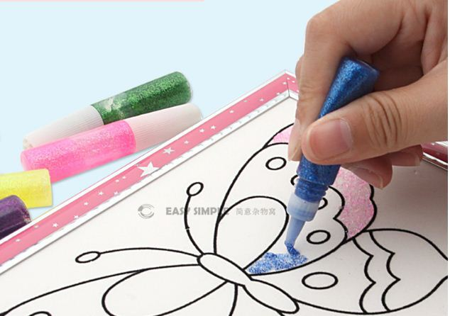 Glitter Sparking Glue Pens Assorted Color Art Craft Painting Washable No Mess