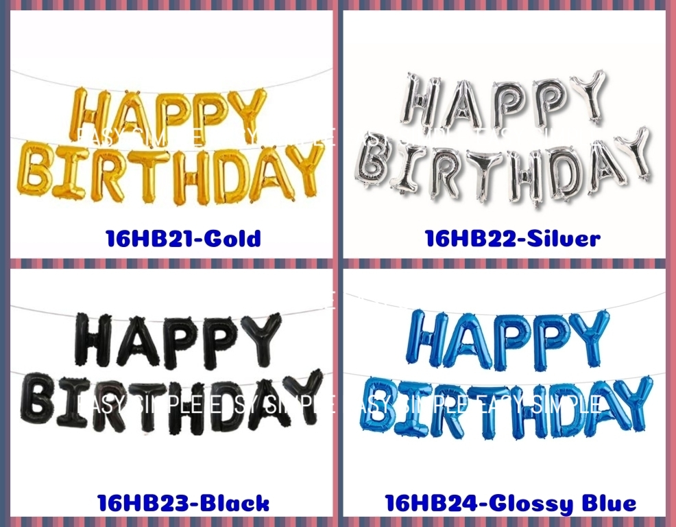 "[Ready Stock] ""Happy Birthday"" Letter Foil Party 16"" Balloons Decoration Party"