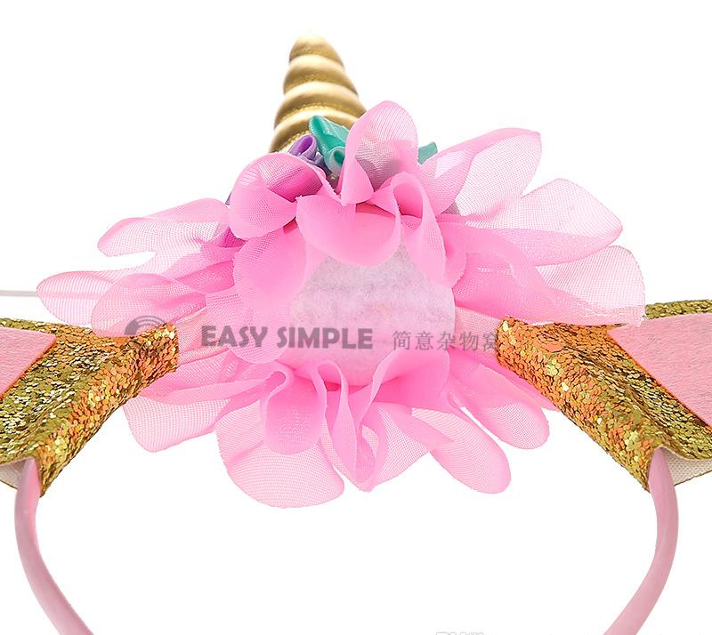 [Ready Stock] Unicorn Headband Party Supplies Glitter Gold Silver Horn Cosplay Costume Outfit Hairband