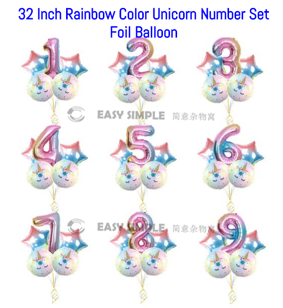 [Ready Stock] 32 Inch Rainbow Candy Color Unicorn Number Set Package Foil Balloon