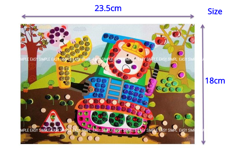 [Ready Stock] Kid Sparking Glitter Round Circle EVA Mosaic Art Craft Painting Preschool Activities