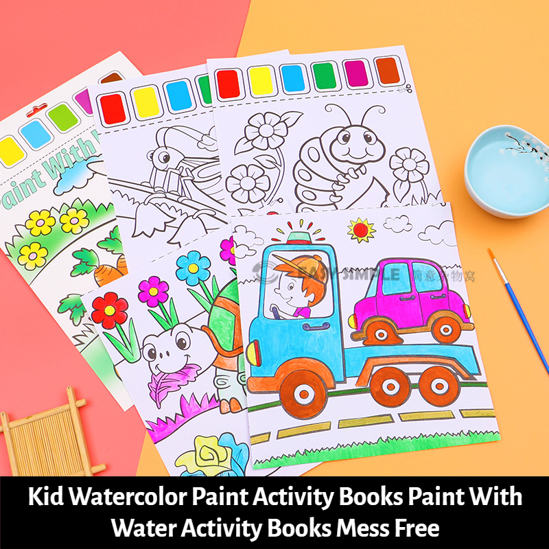 [Ready Stock] (1Set-6pages) (21*27cm) Kid Watercolor Paint Activity Books Paint With Water Activity Books Mess Free